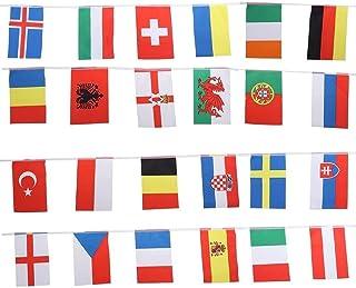 XOYZUU Världsflaggor tyg flaggduk fotboll världskupan, 2021 Euro fotboll banner 24 nationer, flaggor inomhus utomhus vimpe...