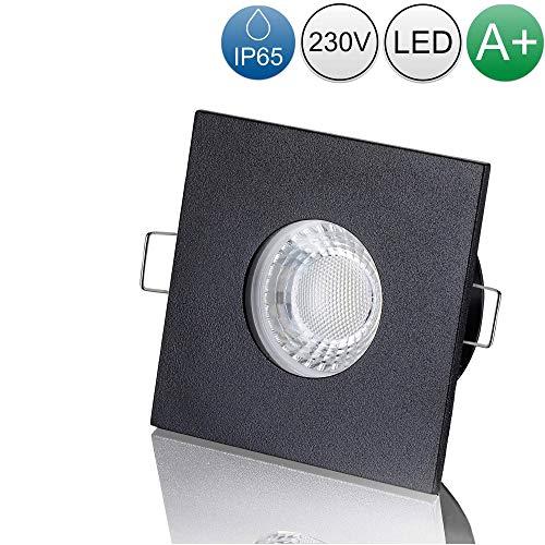 lambado® LED Spots für Badezimmer IP65 in Schwarz - Moderne Deckenstrahler/Einbaustrahler für Außen inkl. 230V 5W GU10 Strahler warmweiß - Hell & Sparsam