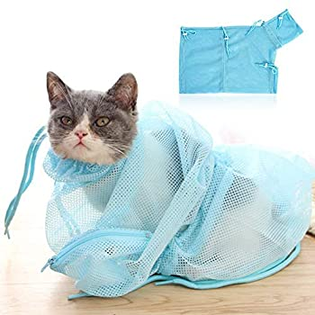 LHKJ Sac Toilettage Chat Cat Grooming Bag Sac Lavage Animal de Compagnie Maille Filet Sachet de Bain Nettoyage Retenue Sac (Bleu)