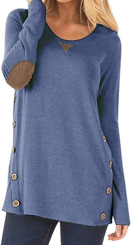 Aliex Women's Tunic Top Casual Long Sleeve Blouse TShirt Faux Suede Button Decor