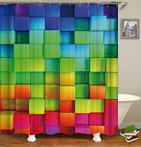 Kwboo Cubica de Rubik. Cuadros de Colores ahumados. Diversas fumaciones. Cortina de Ducha. Resistente al Agua. Mildewproof. Fácil de Limpiar. 180 x 180 cm.