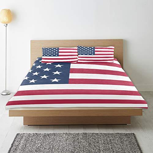 Juego de ropa de cama de 3 piezas de la bandera americana de Estados Unidos, tamaño doble, 167,6 x 228,6 cm, funda de edredón decorativa con 2 fundas de almohada para niños, niñas, adolescentes y adultos