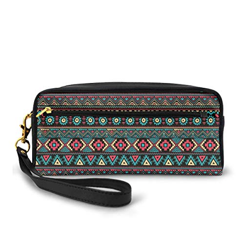 Pencil Case Pen Bag Pouch Stationary,Eastern Style Ethnic Doodles Native Tribe Art Figures Folk Oriental Art,Small Makeup Bag Coin Purse