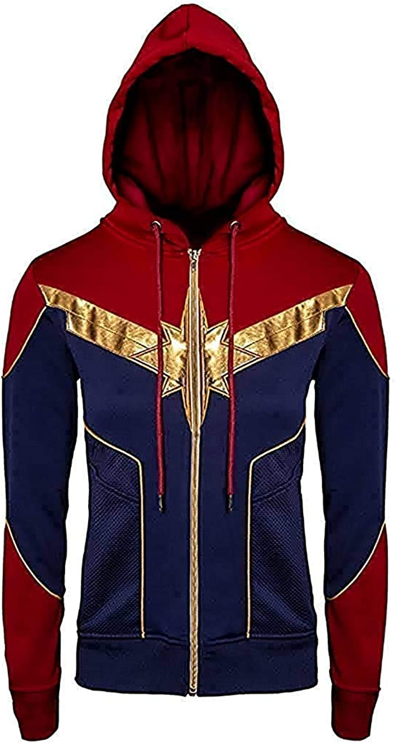 BTFashion Women's The Avengers Captain Marvel Cosplay Cotton Hooded Jacket