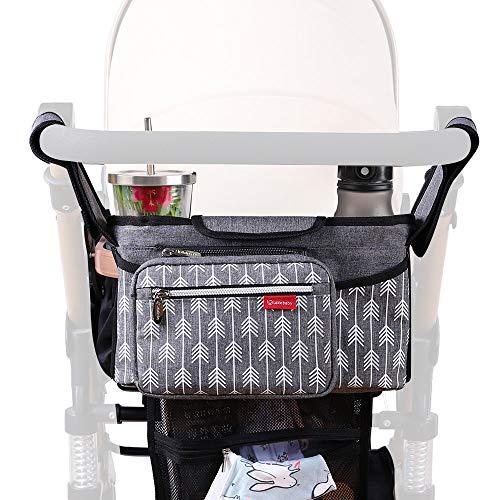 Lekebaby Kinderwagen Organizer Universal mit Isolierten Getränkehalter/Becherhalter, Grau