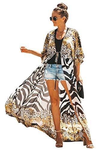 Uniquestyle Tunique en Mousseline de Soie Kimono Fleuri Pareo Plage Fluide Léger Imprimé Casual Ourlet Manche 3/4 Fleurie Bohème Poncho Ample Été léopard
