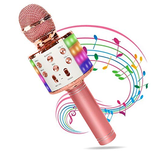 Karaoke Mikrofon Drahtloses, Home Party Lautsprecher Bluetooth Mikrofon Kinder Karaoke Echo mit Aufnahmefunktion und LED-Leuchten, Handheld Microphone Musik Maschine KTV Player, Fit IOS/Android/PC