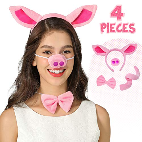 Pig Nose Ears and Tail Set Pig Ear Headband Costume Accessory Kit One Size Pink