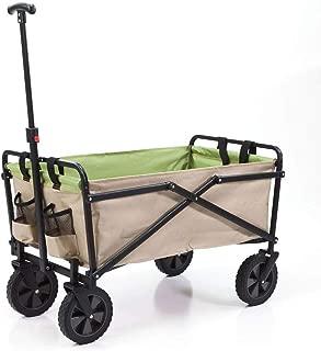 SEINA Manual 150 Pound Capacity Folding Steel Wagon Outdoor Garden Cart, Tan