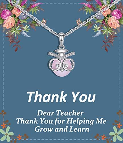 Regalo de agradecimiento para maestros, collar de búho, hecho con perlas de Swarovski en tarjeta de agradecimiento, mejor regalo para...