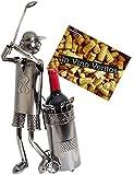 Brubaker Flaschenhalter Golfspieler beim Abschlag Metall Skulptur Geschenk mit Geschenkkarte