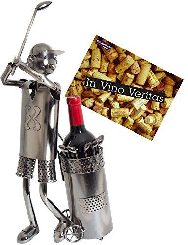 BRUBAKER Porte-bouteille de Vin décoratif - Sculpture en Métal - Idée cadeau - Golfeur
