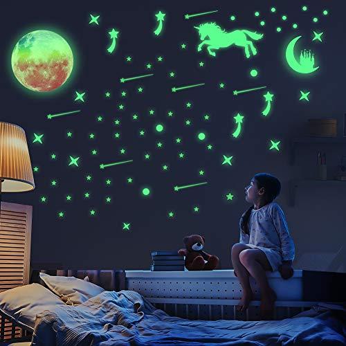 Pegatinas de pared QKURT Glow in The Dark Unicorn, calcomanía grande de vinilo para el hogar para niños, sala de estar, dormitorio, decoración para niñas, brillo duradero
