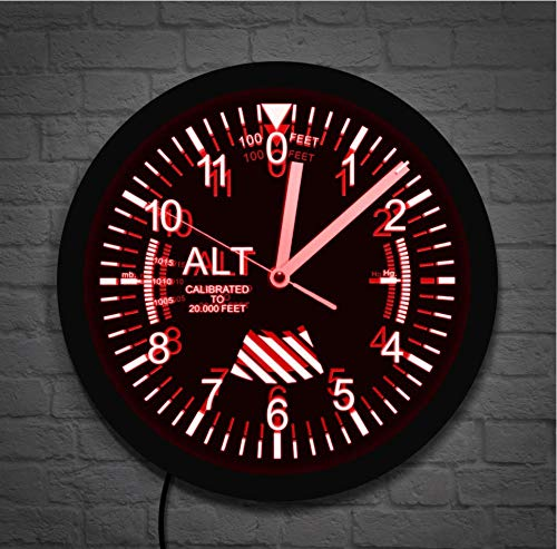 QAZQAZ Reloj de Pared Altímetro, Letrero de neón, Reloj de Pared LED, medidor de altitud, Seguimiento, piloto, avión, medición de altitud, Reloj de Pared Moderno, Regalo de mordaza