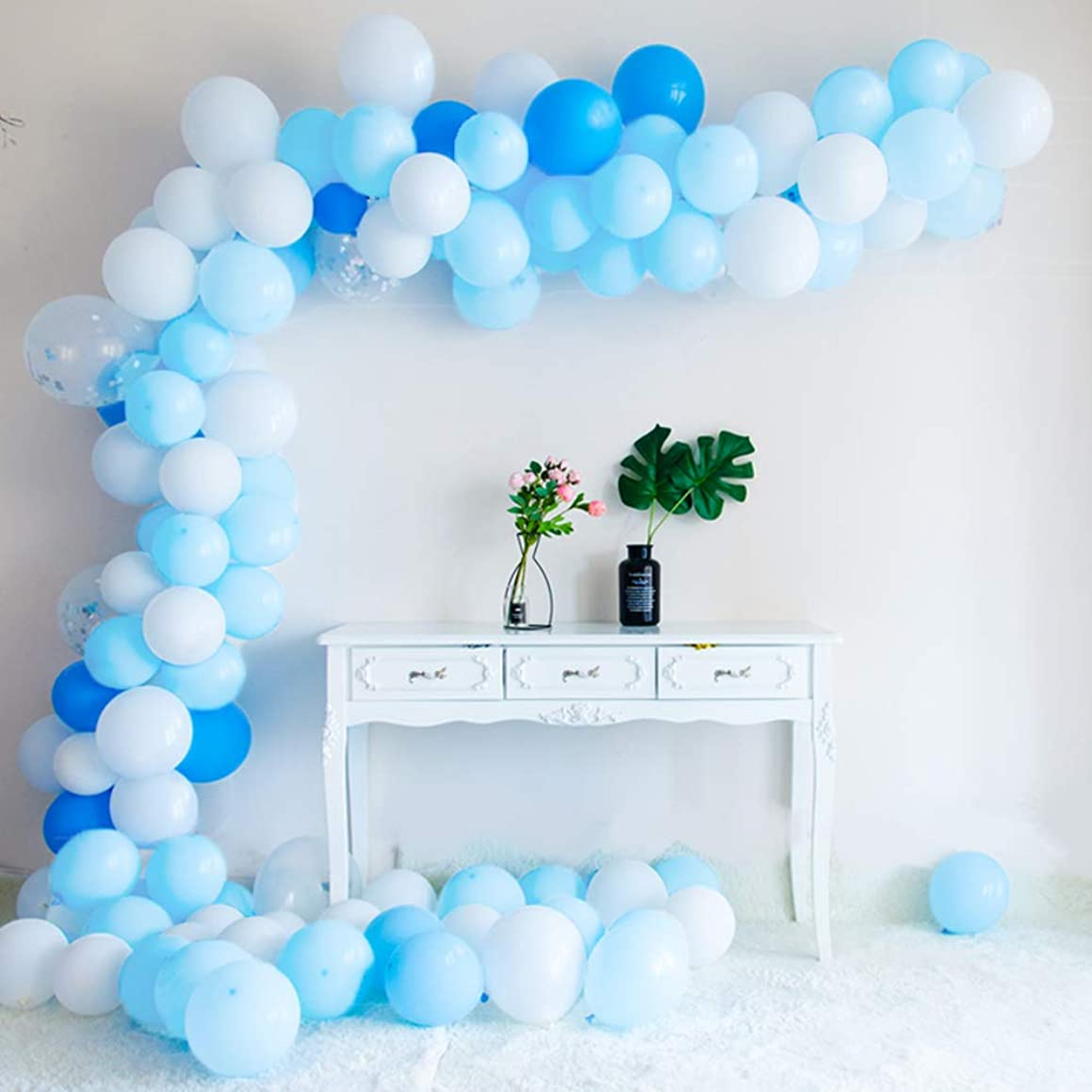 Blue Party Balloons 135 Pcs Macaron Blue & Dark Blue & Blue Confetti balloons and Decorating Strip + inflator + Masking Tape Party Decoration Birthday Wedding Baby Shower