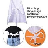 SERWOO (66 * 76 cm) 2 Stück Schürze Kochschürze Küchenschürze Latzschürze Backschürze Kellnerschürze Weiß mit 2 Fronttaschen verstellbarem Nackenband für Damen Frauen Männer Chef - 2