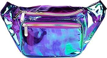SoJourner Holographic Rave Fanny Pack - Packs for festival women men | Cute Fashion Waist Bag Belt Bags  Transparent - Purple