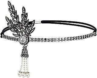 Vintage Flapper Headband Daisy Buchanan Costume Great Gatsby Leaf Tiara Headpiece 1920's Fancy Hair Accessory (Black)