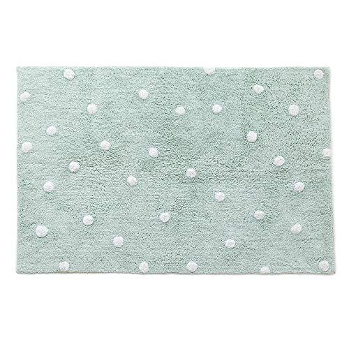 Kenay Home Alfombra Decorativa Infantil Lavable Dots 100x150cm (LargoxAncho), Verde Menta, 100x150 cm