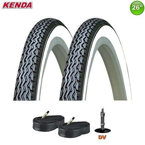 01022632K Kenda K-133 Neumático de la bicicleta negro/blanco con Mangueras 26 x 1 3/8 37-590