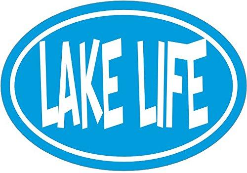 WickedGoodz Oval Light Blue Lake Life Vinyl Decal - Beach Bumper Sticker - Lake Sticker