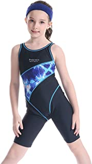 Girls' Solid Splice Athletic One-Piece Swimsuits Racerback Competitive Legsuit