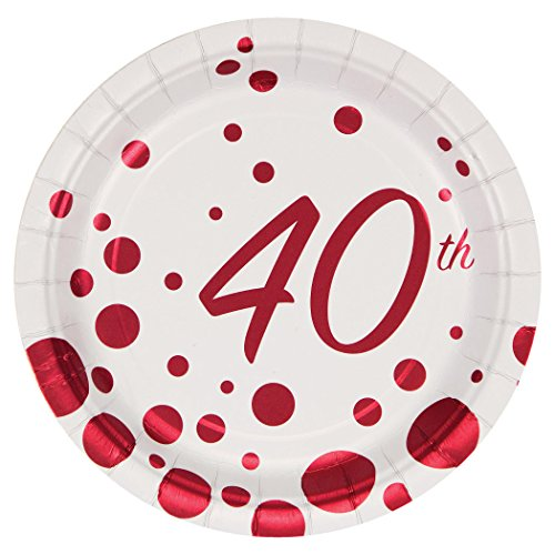Creative Converting 317855 8 Count 40th Anniversary Paper Dessert Plates, 7', Sparkle and Shine Ruby