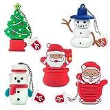 Chiavetta USB da 16 GB Modello di Natale 5 Pezzi, BorlterClamp Pen Drive Scheda di Memoria, Regalo di Natale per Famiglia e Amici