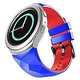 NotoCity Compatibile con Samsung Gear S2 Cinturino in Silicone Sportivo Cinturino di Ricambio per Samsung Gear S2 Smartwatch SM-R720 SM-R730(Blu Reale-Rosso,S)