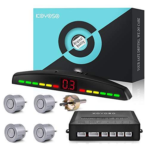 KOYOSO Sensores de Aparcamiento Coche, Auto Reserva Radar Sistema con 4 Sensores y LED Monitora - Plata