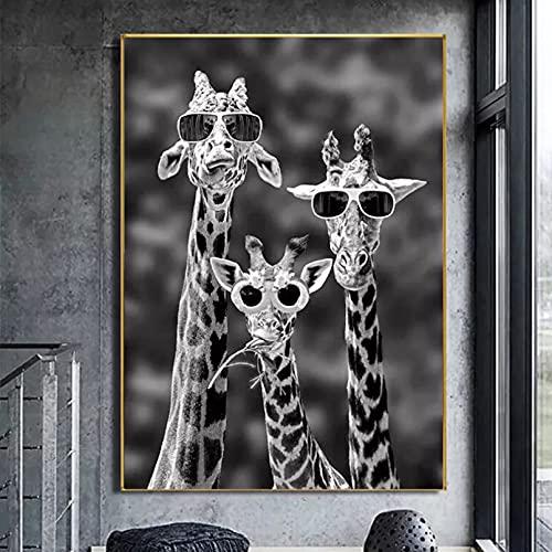 Jirafas con Gafas de Sol, Carteles artísticos Divertidos e Impresiones, Pinturas en Lienzo de Animales en Blanco y Negro en Las imágenes artísticas de la Pared 20x28inch