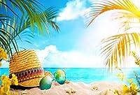 Assanu 海辺のビーチ夏休み背景7 x 5フィート青い海の空雲砂のサングラス女性の帽子スリッパクローズアップ背景沿岸旅行レジャー休暇写真の肖像画芸術的なスタジオの小道具