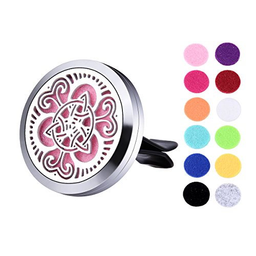 VALYRIA Stainless Steel Celtic Knot Car Air Freshener Aromatherapy Essential Oil Diffuser Locket with Vent Clip (Silver)