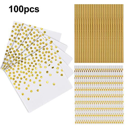 50 Stück Servietten Papier Weiß Gold, 50 Stück Strohhalme Papier Weiß Gold Biologisch Abbauba für Birthday Party, Hochzeit, Weihnachten, Neujahr