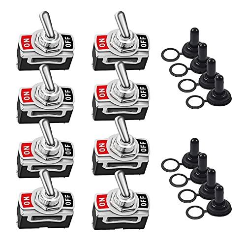 RUIZHI 8 piezas Conmutador de Palanca 2 Pines Interruptor Basculante con Tapa Protectora Rocker Toggle Switch para Auto Vehiculo Barco