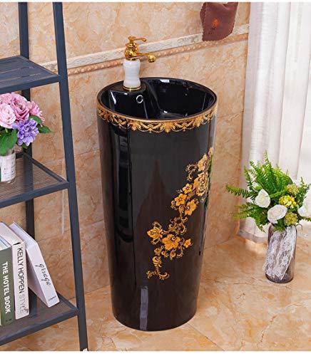 Zybnb Lavabo en céramique, lavabo de balcon, lavabo au sol, vanité de salle de bain européenne, lavabo intégré, céramique noire doré