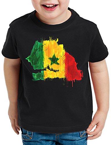 CottonCloud Flagge Senegal Kinder T-Shirt Fußball Sport Afrika WM EM Fahne, Farbe:Schwarz, Größe:128