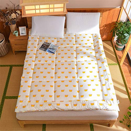Printing Japanese Mattress Pad Silent Super Soft Fabric Non-slip Foldable Tatami Futon Floor Mat Thicken Breathable Double Single Pad for Adult Child D-200x230cm(79x91inch)