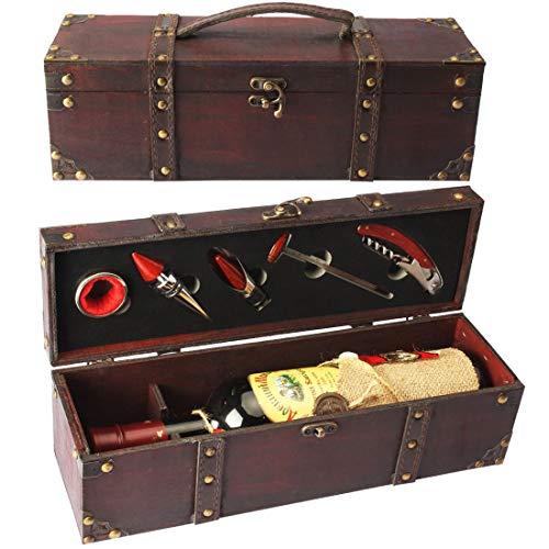 YOBANSA Cofre de madera antiguo caja de almacenamiento con asa, caja de botella de vino con juego de accesorios de vino, caja de regalo de vino de madera Tapón de vino (5set)