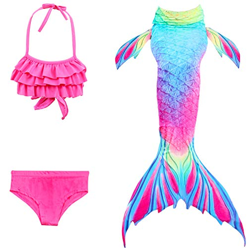 Le SSara 2018 Nuevo Sea-Criada Cosplay Swimwear Mermaid Shell Swimsuit 3pcs Bikini Sets (140, DH52+WJF48)