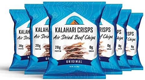 Kalahari Biltong Crisps Original Flavor Air Dried Beef Chips 20g of Protein Keto Friendly Soy product image