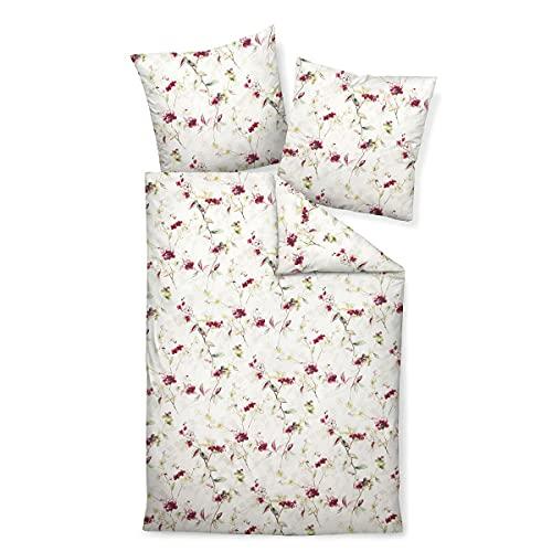 Janine Design Davos 65105 - Juego de cama (funda nórdica de 140 x 200 cm y funda de almohada de 70 x 90 cm), color rojo