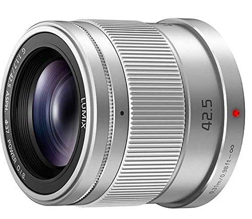 Panasonic H-HS043E-S - Objetivo para cámara Lumix (Distancia Focal 85-42.5 mm, Apertura f/1.7, Zoom óptico 2X, diámetro Filtro: 55 mm), Color Plateado