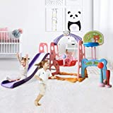6 In 1 Kids Slide Swing Playset/Toddler Slide Climber and Swing Playset with Basketball Football Baseball /Indoor & Outdoor Combination Mountaineering Swing Set ,Best Gift for Christmas Day Birthday