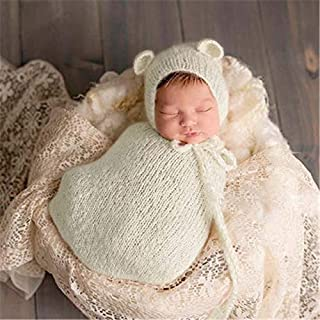 Crochet Soft Baby Sleeping Bag Newborn Sleep Sack Baby Mohair Bear Hats Knitted Newborn Wraps Baby Photography Props Photoshoot