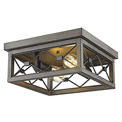 Osimir Flush Mount Lighting Fixture, 12inch 2-Light Square Ceiling Light Fixtures, Black & Wood Grain Texture Finish, RE9179-2A