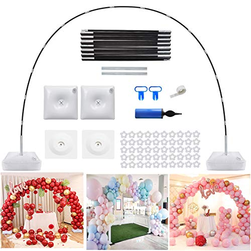 Lairwen Balloon Arch Kit,Adjustable Balloon Stand Set with Water Fillable Base,50Pcs Balloon Clips,Manual Pump Balloon Knotter-Wedding Graduation and Birthday Party Supplies Decorations