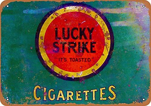 Lucky Strike Cigarettes Metall Blechschild Retro Metall gemalt Kunst Poster Dekoration Plaque Warnung Bar Cafe Garage Party Game Room Hauptdekoration
