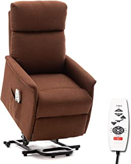 ERGOREAL Lift Chair, Power Lift Recliner with Heat and Massage Functions, Remote-Controlled Power Lift Chair for The Elderly.(Brown)