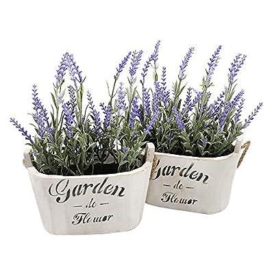 Heart To HeartButterfly Craze Purple Silk Floral Arrangements Faux Lavender Flower Plant Home Office Décor 2 Pc Set - with White Vases